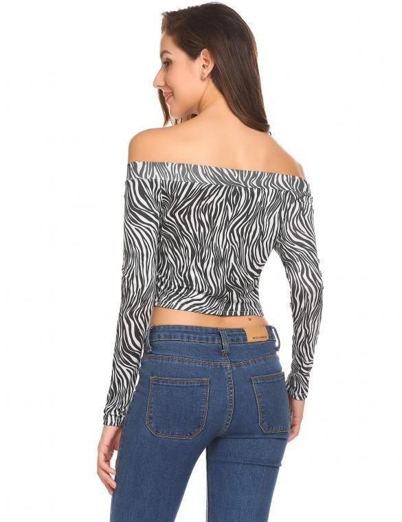 c195ce5342a41 Black Flora Women Sexy Off Shoulder Long Sleeve Floral Zip-Front Slim Fit Crop  Top
