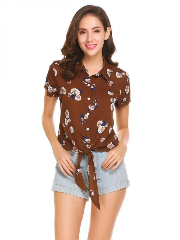 5352200f39a Brown Women Short Sleeve Tie Knot Front Floral Print Loose Chiffon Blouse  Tops