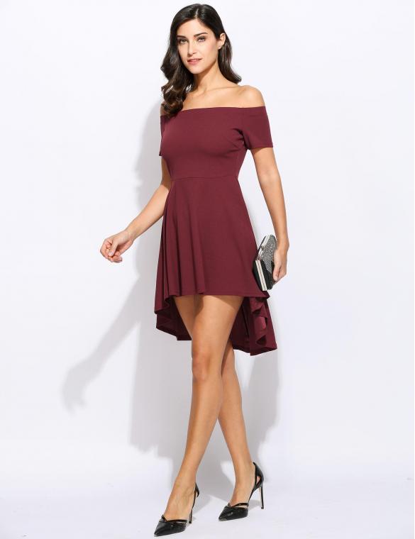 da3415468b19 Black Off Shoulder Mini Swallowtail Party Dress