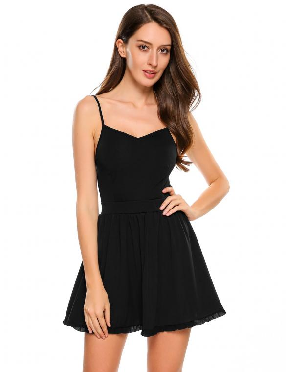 Black Spaghetti Straps Backless Solid V Neck Skater Dress 0f18dda65