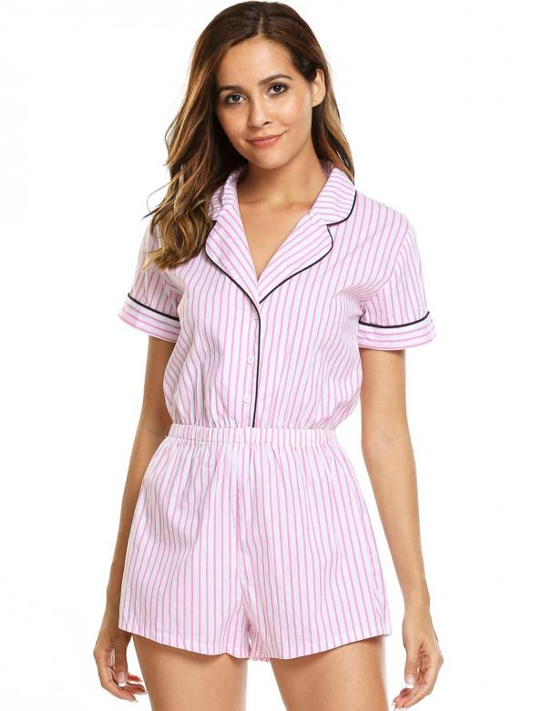 0a109cb5d9a6 White Striped Short Sleeve Turn Down Collar Rompers Sleepwear