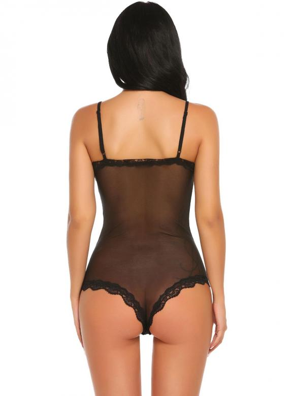 9dadad6636 Black Sexy Lingerie Spaghetti Strap Sheer Mesh Lace One Piece Bodysuit