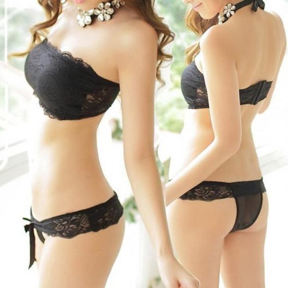 e91aac0f2efe0 White Women Girl Slim Floral Lace Crop Bustier G-string Thongs Bras   Bra  Sets