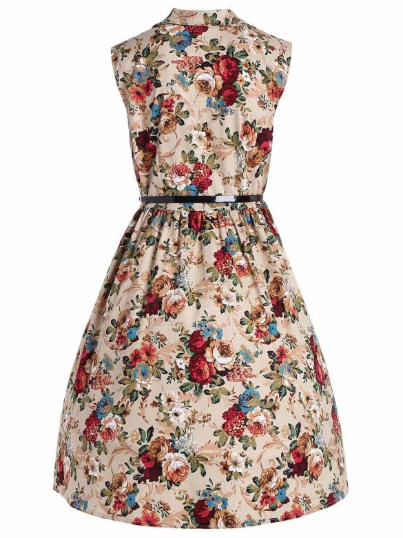 Women 1950s Vintage Style V-Neck Button Down Sleeveless Belted Floral Swing  Dress 07f4ecb4e13