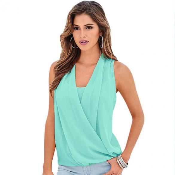 3d4d36c6865e Casual Women Summer Sleeveless V-neck Chiffon Vest Tank Top Patchwork T-Shirt  Blouse